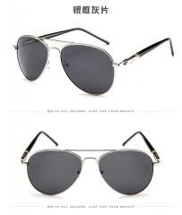 KK-Fashion Men Women Fashion Classic Sunglasses polarized Sunglasses Metal Sunglasses silver frame-gray lens one set