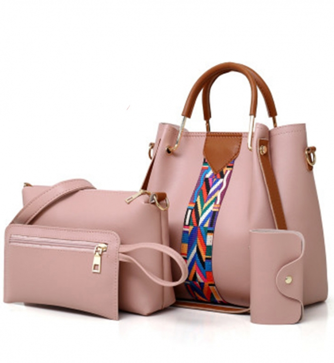 KK-4pcs Set Fashion Handbag Elegant Women Luxury Color Contrast  StripeHandbag PU Leather Bags pink 6c7637fc0e763