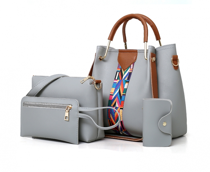 KK-4pcs Set Fashion Handbag Elegant Women Luxury Color Contrast  StripeHandbag PU Leather Bags gray 1e66d8e13d0c3
