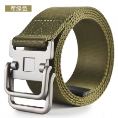 KK-Fashion Men Color Contrast Stripe Double Loop Nylon Casual Belt a2 100cm