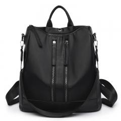 KK-Women Zipper Multi Function Big Capacity Oxford Cloth Handbag Single Double Shoulder Backbags black one set