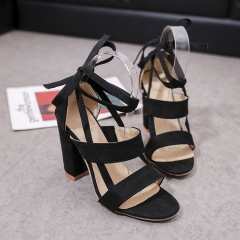 Fashion Elegant Women Summer Bandage High Heel Shoes Sandals black 34