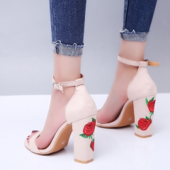 1 Pairs Size 34-43 Suede Embroidery Buckle Strap Thick Heel High Heels Sandals Women'S Shoes kakhi 34