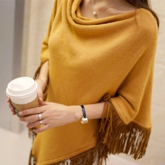 KK-Fashion Women Free Size Loose Pure Color Tassel Cloak Sweater Knitting Cardigans yellow free size