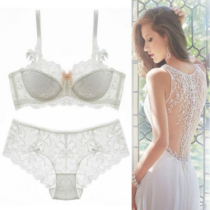 464d7b78e7 One Set Sexy Lace Underwear Ladies Deep V hollow Bra with Pant Underwear  Suit white 75c