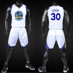 NBA Super Star Golden State Warriors kit Basketball Jersey Sport Suit Waistcoat Short Set leave size massage Curry white