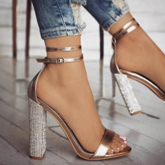 Fashion Women Blink Wedge Heels Shoes  Buckle Strap High Heels Sandals Ladies Shoes golden 34