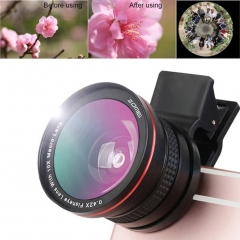 2in1 Professional Mobile Phone 37mm 0.42X Close Up Phone Filter Lens Micro HD 180°  Fisheye Lens black one pcs