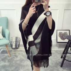 Fashion Women Free Size Loose Contrast Color Stripe Tassel Cloak Sweater Knitting Cardigans black free size