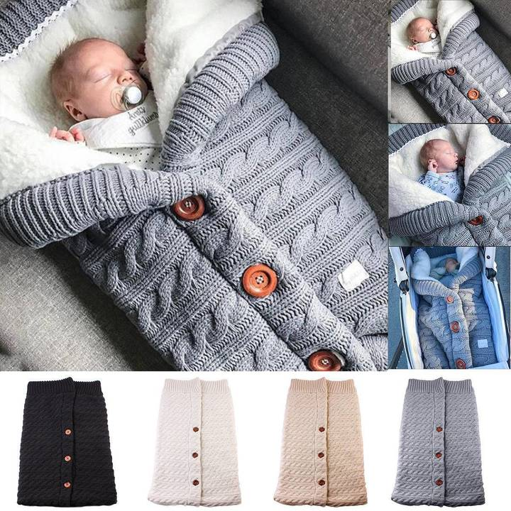 cd388ea4e599 Newborn Infant Baby Blanket Knit Crochet Winter Warm Swaddle Wrap ...