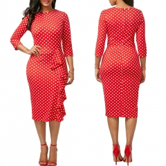 New vintage Polka Dot print  Round-Neck knee-length Work Pencil Dress s red