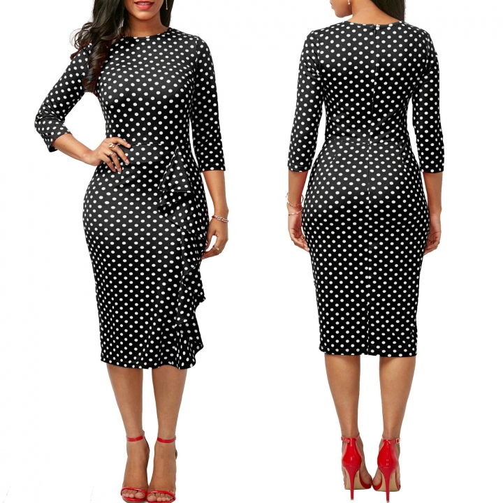 New vintage Polka Dot print  Round-Neck knee-length Work Pencil Dress m black