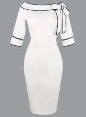 Women Brief Elegant Slash-Neck Bow Pinup Casual Office Work Party Pencil Dress s white