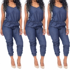 Women Denim Jumpsuits Sexy Sling Backless Jumpsuit as picture m
