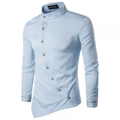 Fashion Men's Oblique Button Embroidered Casual Irregular Shirt Long Sleeved  Shirt Light Blue S