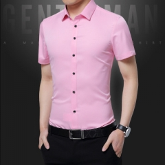 Fashion Men Business Casual Dress Shirt Short Sleeves Slim Fit Official Shirts pink m