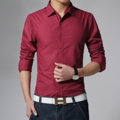 2018 New Long Sleeve Men dress Shirts Men's Slim Fit Shirt Clothes wine red m