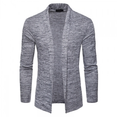2018 Spring Autumn No buttons Slim Cardigan Men's Long sleeve knitted Sweater Stylish Sweater Coat Light grey S