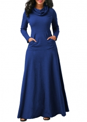 Women long maxi dress long sleeve dress with pocket fashion casual dress autumn winter S Blue