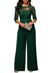 Stylish rompers women jumpsuit lace elegant jumpsuit women wide leg lady office bodysuit overalls Green S