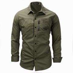 Fashion Men Shirt military Long Sleeve Quality Shirt men Outdoor Casual Shirt Large Size Army Green L
