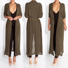 Fashion ladies blouse long style chiffon casual coat outerwear Cardigan women army green m
