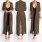 Fashion ladies blouse long style chiffon casual coat outerwear Cardigan women army green m