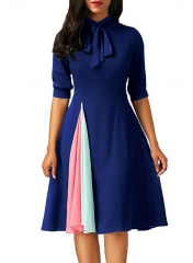 Office Lady Dress A Line Evening Party Dress Women Half Sleeve Stand Neck Bowknot Dress s blue