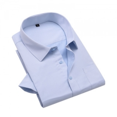 Short Sleeve Twill Men Dress Shirt Fashion Business Work Official Shirts Big Size light blue s
