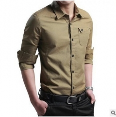 Men Shirt Long-Sleeved Dress Shirt Men'S Business Casual Slim Lapel Shirt Large Size khaki l