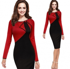 Women Office Lady Work Dress 2018 New Elegant Bow Party Bodycon Stitching Pencil Dress s red