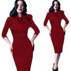 2018 New Fashion Women Dress Elegant Office Lady Pencil Dress Bownot O Neck Dress Half Sleeve s red