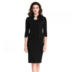Two Pieces Set Dress Women Spring Autumn Plus Size Work Wear Bodycon Pencil Office Ladies Dress s black