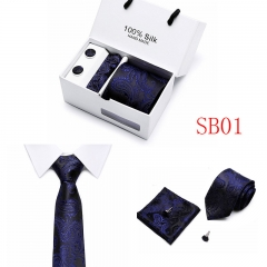 Gift Box Packing Neck Tie Set Include Handkerchief Cufflink Man Formal Business Wedding Party Ties SB01 one size