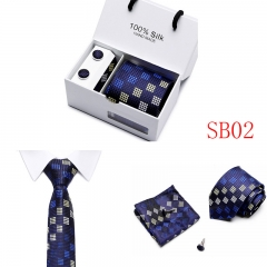 Gift Box Packing Neck Tie Set Include Handkerchief Cufflink Man Formal Business Wedding Party Ties SB02 one size