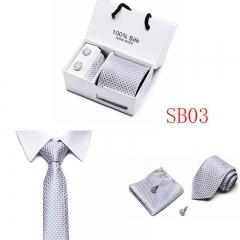 Men Neck Tie Set Include Handkerchief Cufflink Man Formal Business Wedding Party Ties SB03 one size