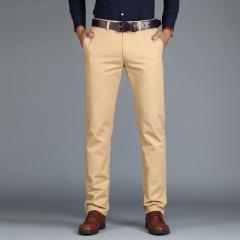 2018 New Casual Pants Men Cotton Fashion Work Formal Trousers Male Clothing light  khaki 31