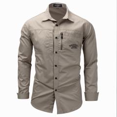 Fashion Men Shirt military Long Sleeve Quality Shirt men Outdoor Casual Shirt Large Size Khaki XL