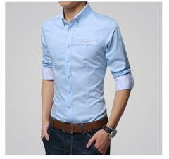 2018 Fashion Brand Men Slim Fit Long Sleeve Shirt Business Casual Social Shirt Plus Size light blue m
