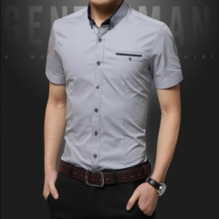 2018 men casual shirt short sleeve office dress shirt summer style grey m