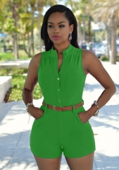 Summer Fashion Women Shorts Jumpsuit Solid Playsuits Casual Elegant Sexy Sleeveless Rompers green s