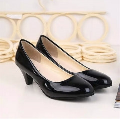 Women Office Work Heels Shoes Elegant Ladies Shallow Mouth Single Shoes 319-black 35