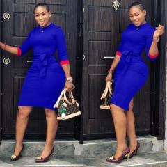 Women Half Sleeve Autumn Slim Hip Bodycon Dress O Neck Office Dress Ladies Sexy Bandage Dress s blue