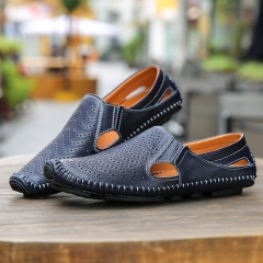 Mens loafers summer hollow out leather shoes quality slip-on breathable casual driving shoes blue 40