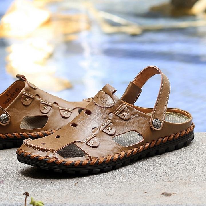 Comfortable Leather Sandals Mens Sandals Slip-on Shoes Male Sandals Summer Shoes Khaki 39