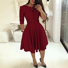 Fashion Elegant A-Line Party Dress Women Zipper Up Belted Pleated Casual Dress s wine red