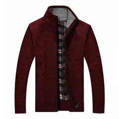 Men's sweater winter thick cardigan sweaters man stand collar zipper knitted sweater outwear wine red m