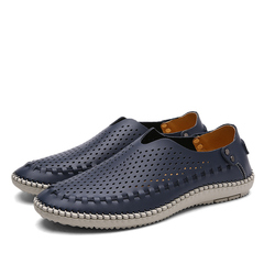 Big Size Business Casual Shoes Men Flats Driving Loafers Shoes Designer Footwear hollow blue 39