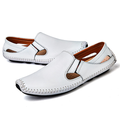 Genuine Leather Men Casual Flats Outdoor Loafers Driving Shoes Male Shoes Large Sizes white 39
