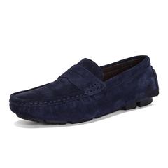 Men Casual Shoes Genuine Cow Suede Leather Men Loafers Moccasins Men's Flats Male Shoes Big Size deep blue 39